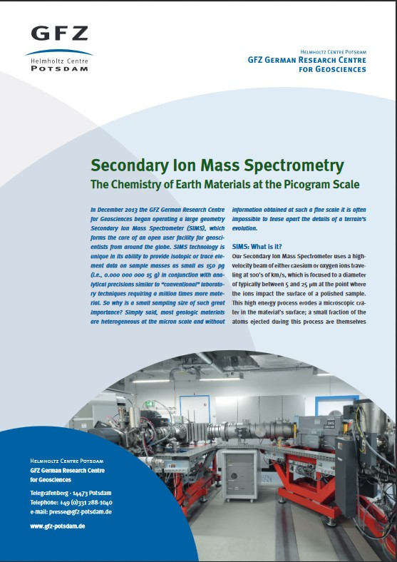 thumbnail Secondary Ion Mass Spectrometry SIMS - The Chemistry of Earth Materials at the Pictogram Scale