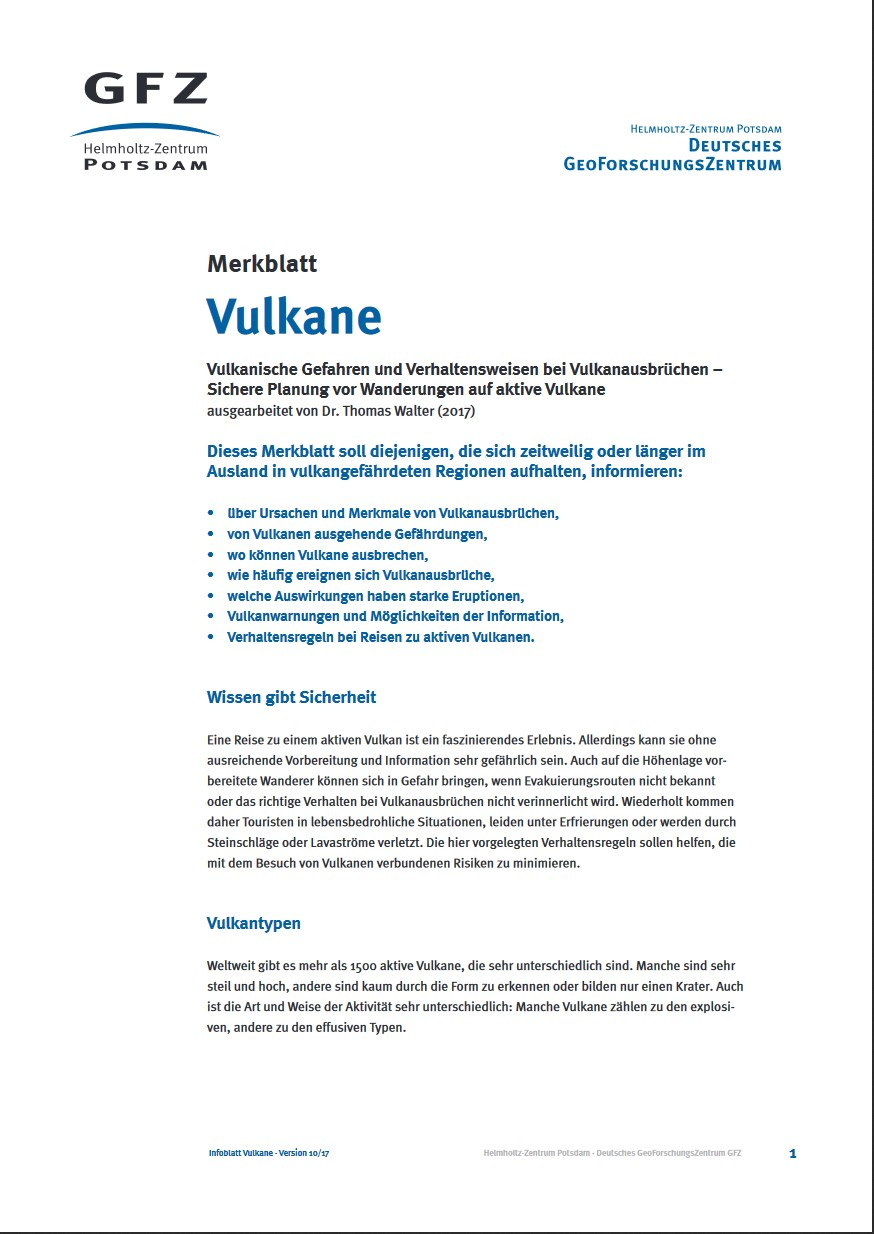 thumbnail [German only] Merkblatt Vulkane
